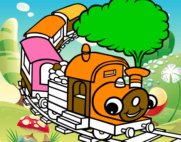 desenho de trem sorridente pintado e colorido por giovanni o dia 03