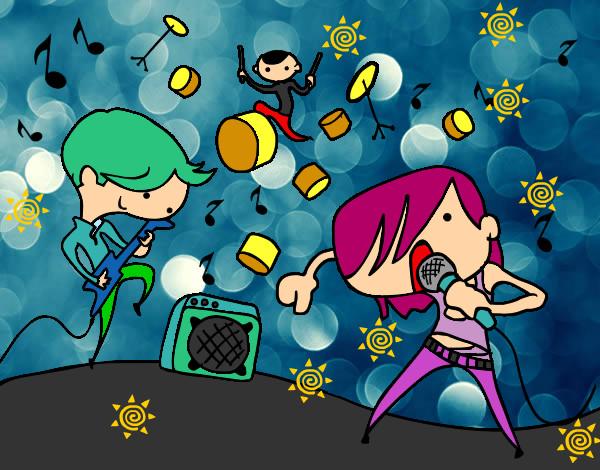 desenho de show de rock pintado e colorido por dessameel o dia 10 de