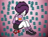 Desenho Rapariga Emo pintado por Larissajo
