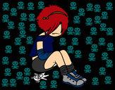 Desenho Rapariga Emo pintado por pamy