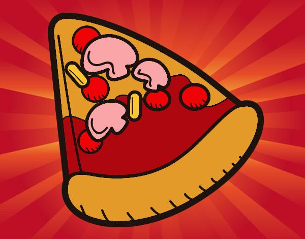 desenho de fatia de pizza pintado e colorido por nate o dia 20 de