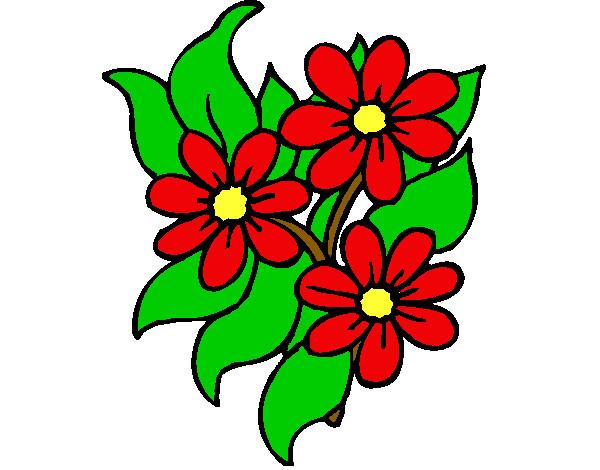 desenho de florzitas pintado e colorido por rosa o dia 28 de abril