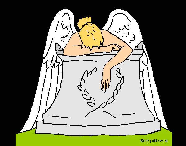 desenho de escultura anjo do cemitério pintado e colorido por felipe