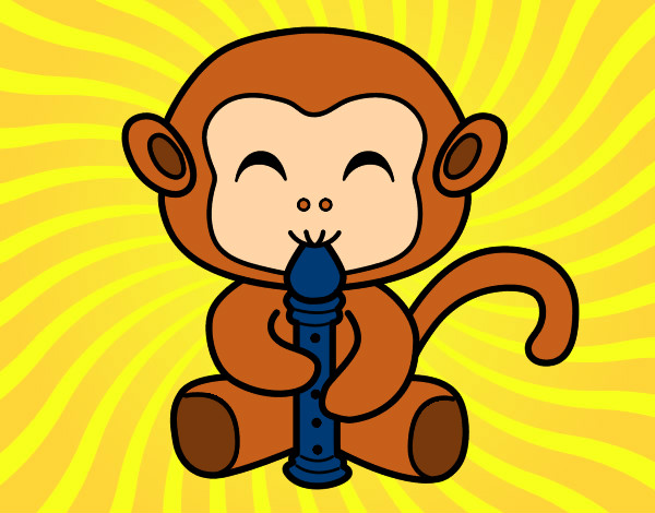 Macaco DÍa De La Paz: Desenho De Macaquinho Com Flauta Pintado E Colorido Por
