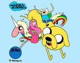 Desenho Jake, Finn, Princesa Bubblegum e Rainbow Lady pintado por bruninho