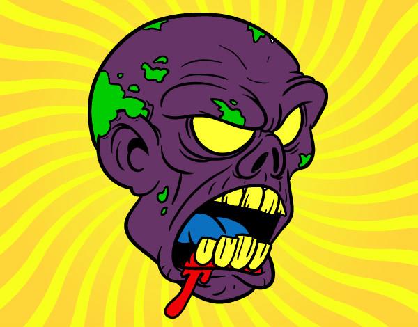 Desenho Cabeça de zombie pintado por Xing