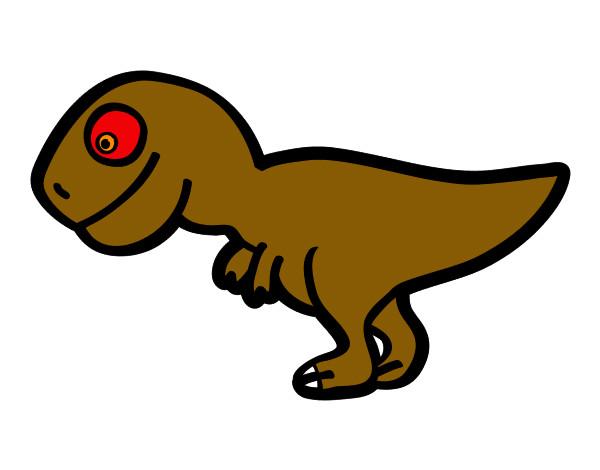 desenho de tiranossauro rex jovem pintado e colorido por luccas o