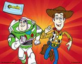 Desenho Buzz e Woody pintado por Euri
