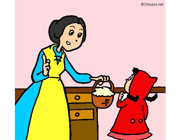 Desenho De Chapeuzinho Vermelho-Levar A Cesta Para A Vovó