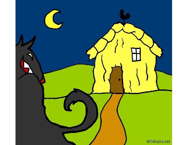 Desenho De Os Três Porquinhos O Lobo Mau E A Casa De Palha