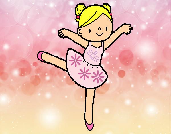 desenho de bailarina feliz pintado e colorido por monikita o dia 27