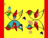 Desenho Dois Pássaros pintado por toia