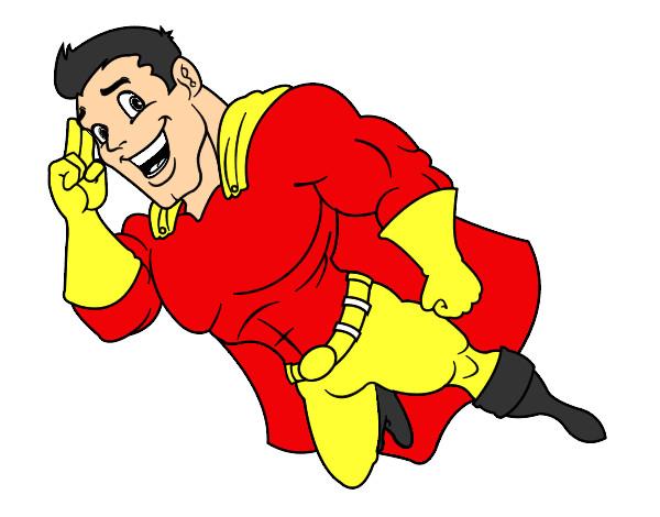 Desenho Superherói voando pintado por matheus150