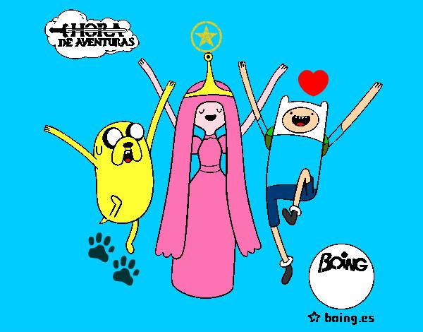 Desenho Jake, Princesa Bubblegum e Finn pintado por marcus