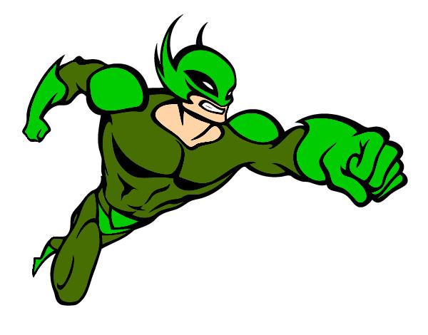 Desenho Super-herói sem uma capa pintado por hulk
