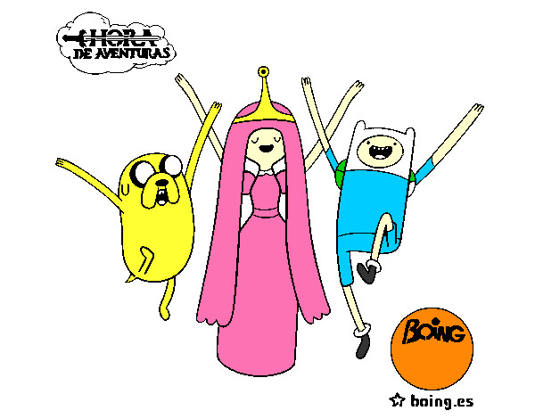 Desenho Jake, Princesa Bubblegum e Finn pintado por Guilerme