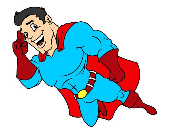 Desenho Superherói voando pintado por carlinnhos