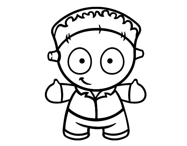 Desenho De Boneco Frankenstein Pintado E Colorido Por