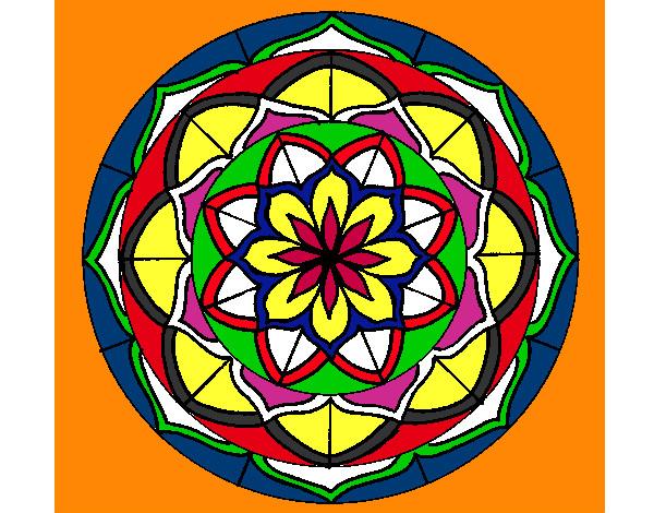Desenho de mandala 1 pintado e colorido por Melita o dia