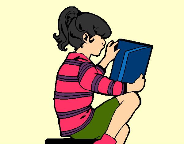 Desenho De Menina Lendo Pintado E Colorido Por Lupper O