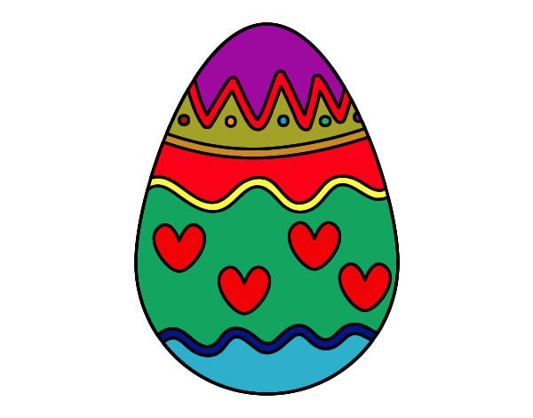desenho de ovo com corações pintado e colorido por jp04 o dia 30 de