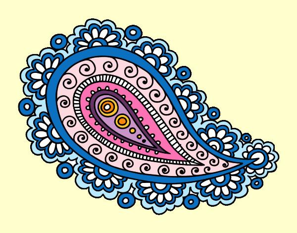 Desenho de Mandala lágrima pintado e colorido por Betinha
