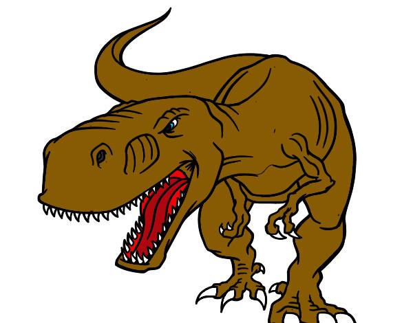 desenho de tiranossaurus rex aborrecido pintado e colorido por