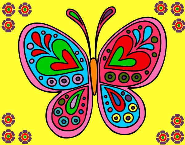 Desenho de Mandala borboleta pintado e colorido por Vallk