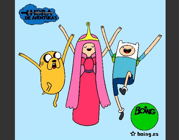 Desenho Jake, Princesa Bubblegum e Finn pintado por Lupper