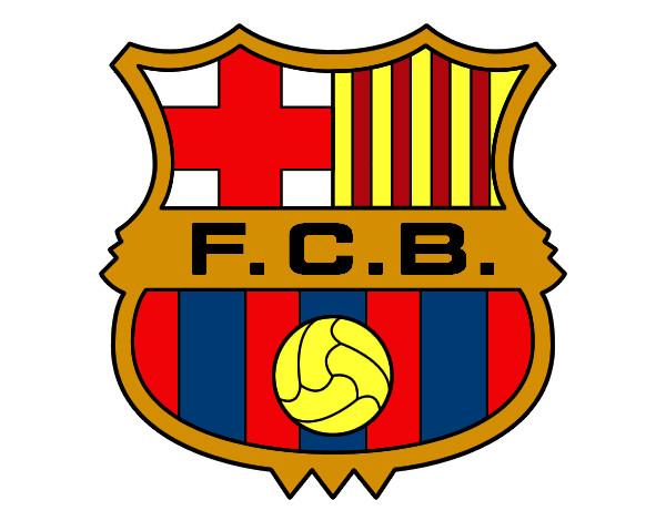desenho de emblema do f c barcelona pintado e colorido por