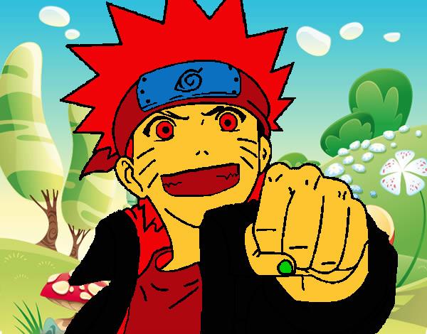 Naruto Colorido ~ Desenho de Naruto alegre pintado e colorido por Gonsalves o dia 22 de Junho do 2013