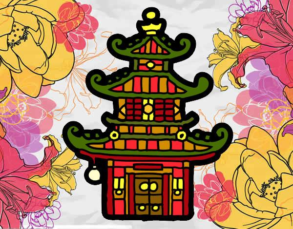 desenho de pagode chinesa pintado e colorido por imshampoo o dia 21