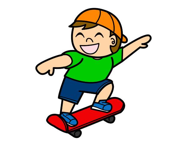 desenho de menino com skate pintado e colorido por fatimafons o dia