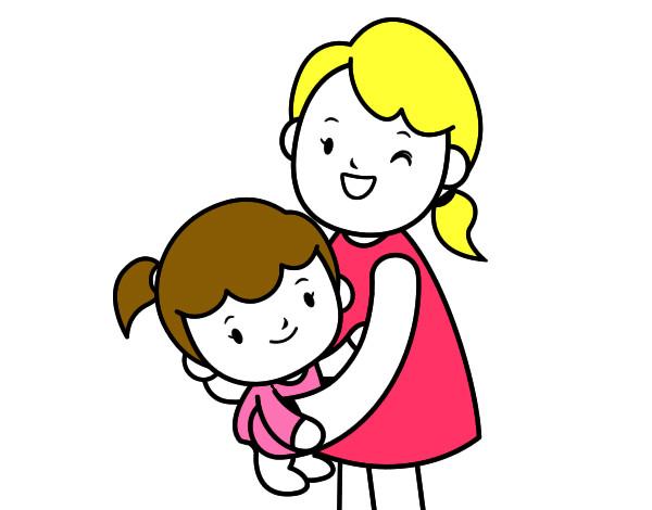 Desenho De Abraço Com A Mãe Pintado E Colorido Por Ita1979