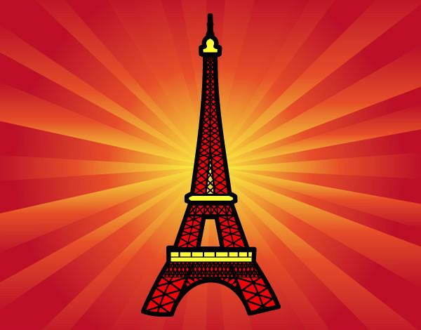 Desenho De Torre Eiffel Pintado E Colorido Por Luzinda O