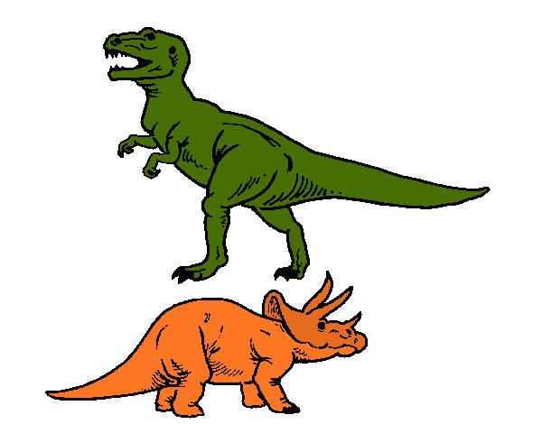 desenho de tricerátopo e tiranossauro rex pintado e colorido por