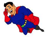 Desenho Superherói voando pintado por Keydson