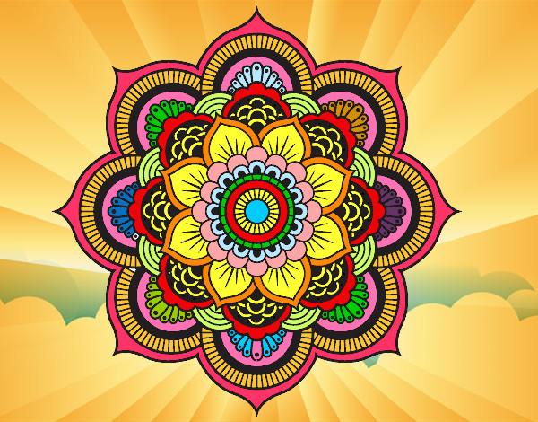 Desenho de Mandala flor oriental pintado e colorido por