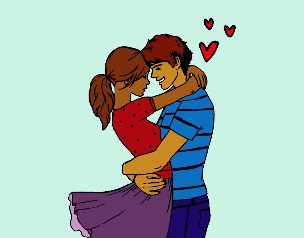 desenho de casal apaixonado pintado e colorido por maylla o dia 12