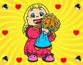 Desenho Menina com boneca pintado por eliklay