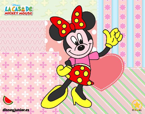 Desenho De Minnie Mouse Saudação Pintado E Colorido Por