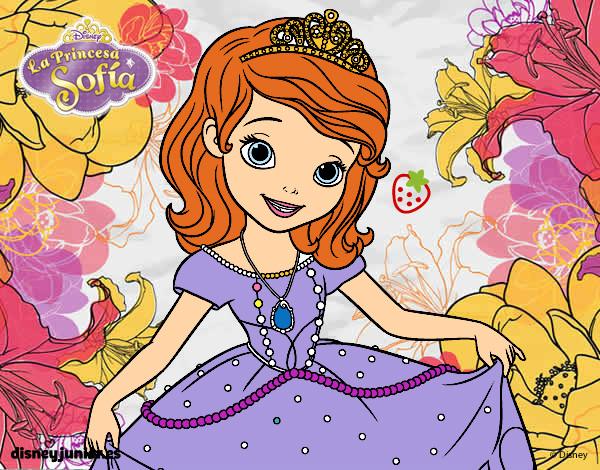 desenho de princesinha sofia saudação pintado e colorido por