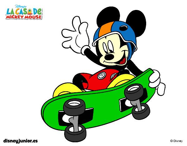 desenho de rato mickey em patim pintado e colorido por luisapires o