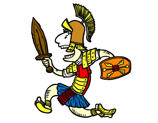 desenho de soldado romano a corre pintado e colorido por fernyra o
