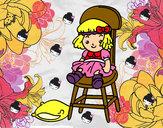 Desenho Boneca sentada pintado por Barbaraeli