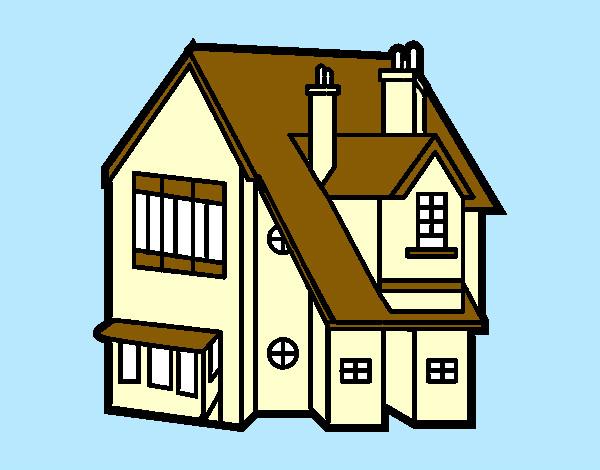 desenho de casa unifamiliar pintado e colorido por mylenna o dia 29