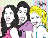 Desenho Violetta, Francesca e Camila pintado por Bhunna