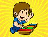 Desenho Menino com xilofone pintado por IgorF
