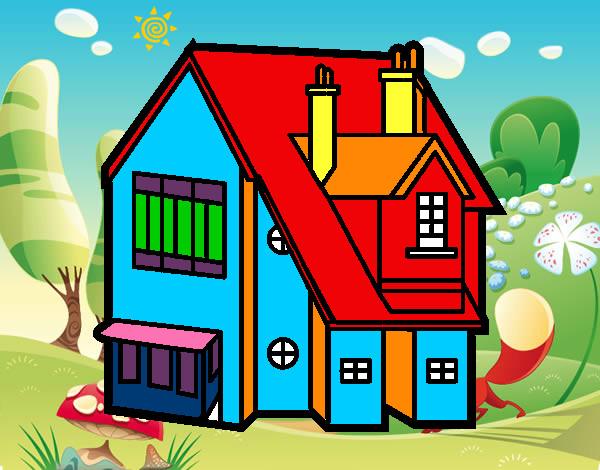 desenho de casa unifamiliar pintado e colorido por nagib o dia 06 de