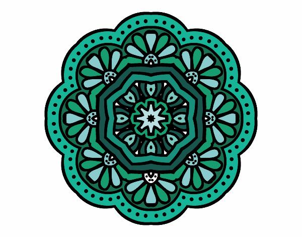 Desenho De Mandala Mosaico Modernista Pintado E Colorido